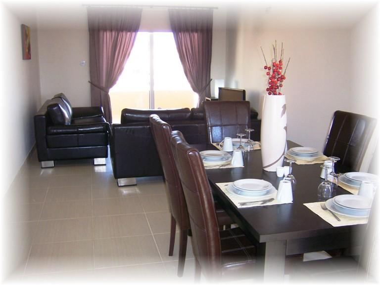 A spacious open plan dining and living room furnished to the highest standards........