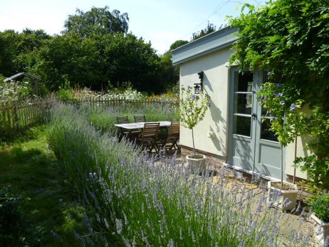 The lovely West and South facing terrace surrounded by lavender roses and wisteria