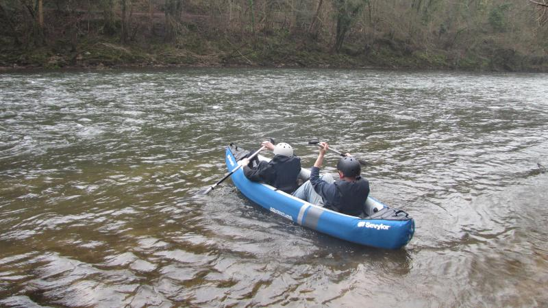 Canoeing the Wye with one of the cottages' own canoe
