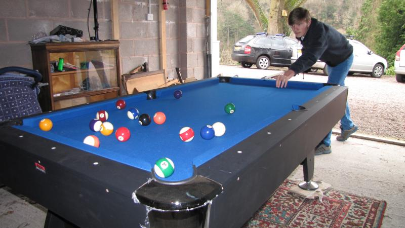 Playing pool in the garage at Wyewood Cottage