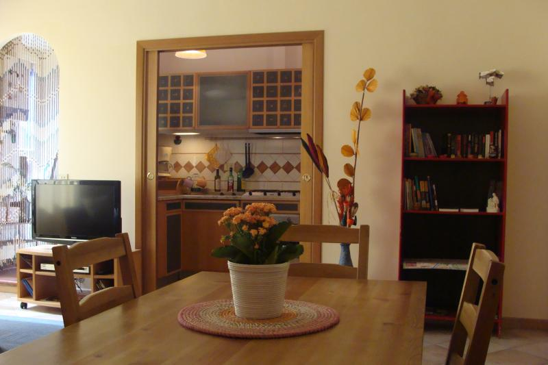 the living room & kitchen, lcd tv and the red bookshelf