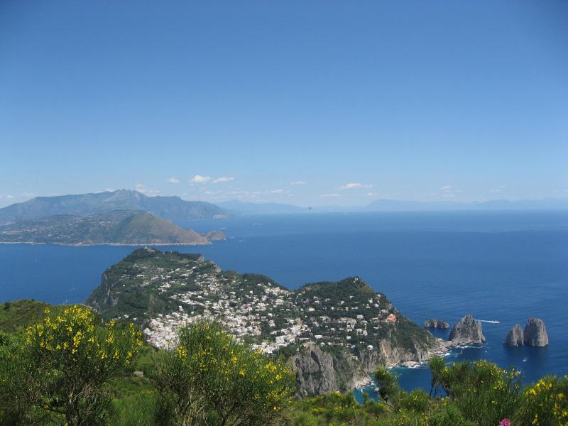 Capri - View of the island itself and the Sorrentine Peninsula in the background.