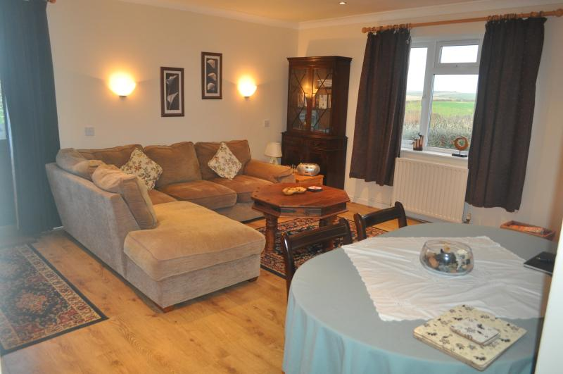 Lounge/Diner, the lounge has a large sofa and a full sized dining table that can seat 6!