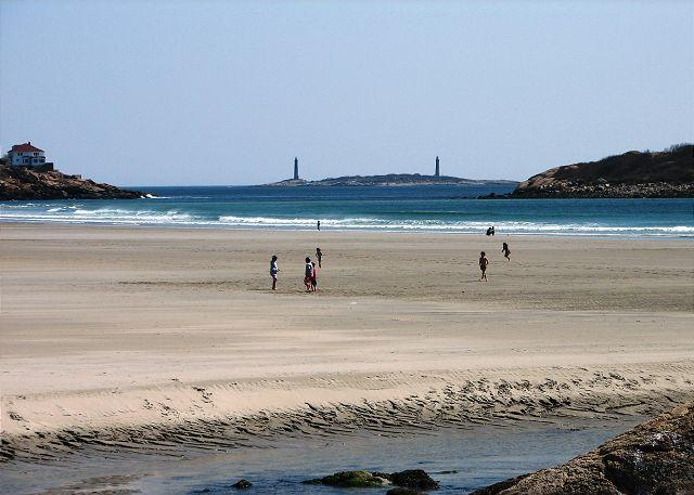 Good Harbor Beach and the famous twin lighthouses in the distanc