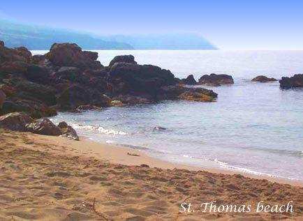 St Thomas Beach is a lovely sandy beach with 2 tavernas and just a  20 minute walk from the villa
