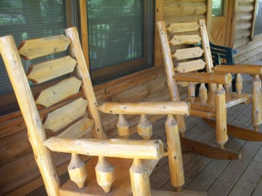 Enjoy the breezes in the log rockers