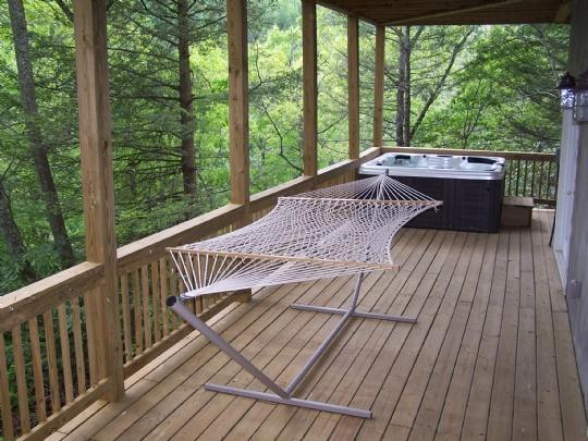 Lower deck with hot tub & hammock