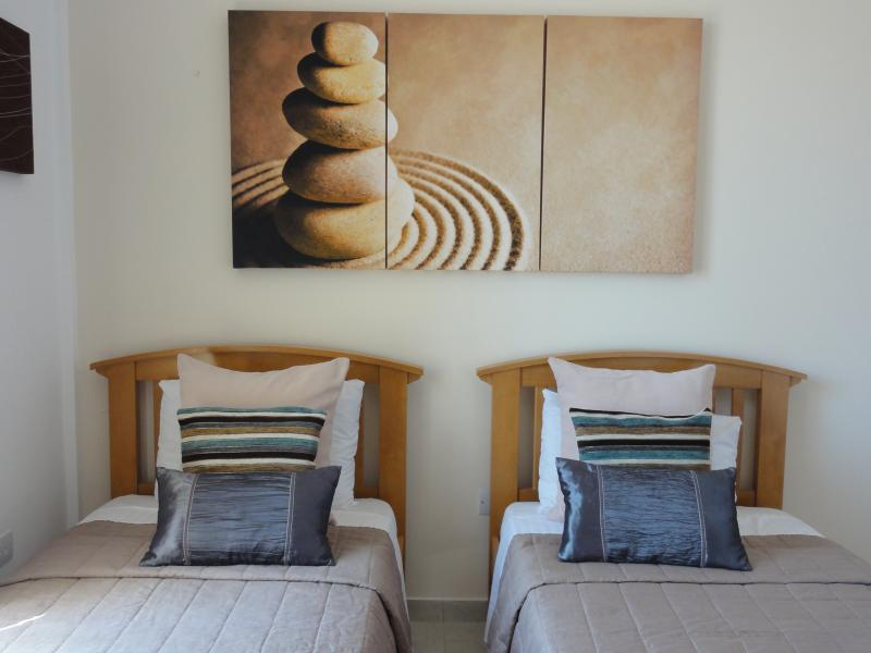 Warm and natural twin beds