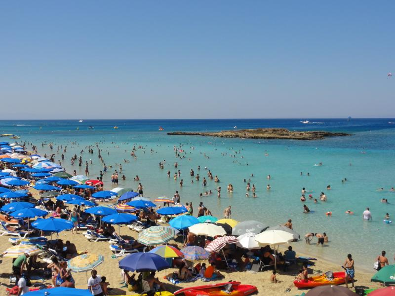 Turquoise waters and Golden sands Fig Tree Bay Beach