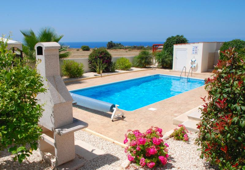 Rear Garden & Pool looking towards the Med!