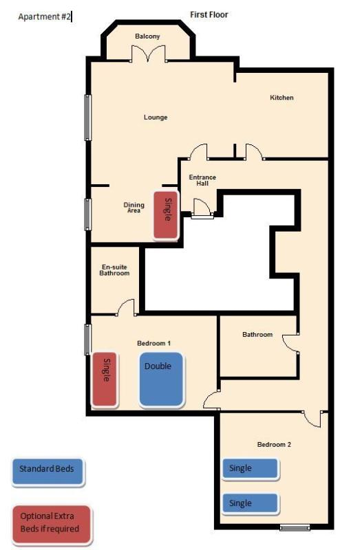 Apartment 2 Floor Plan with Beds