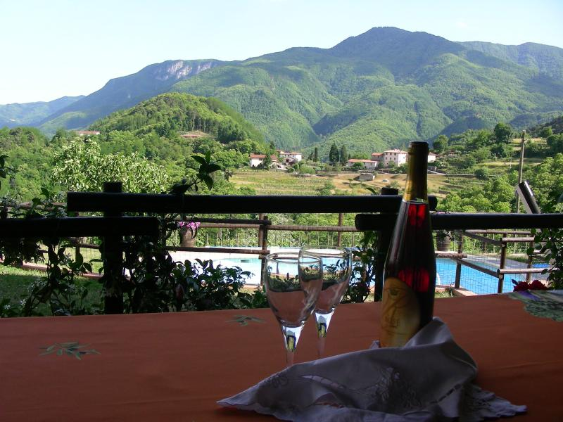 View when dining al fresco! Open countryside with mountains in background.