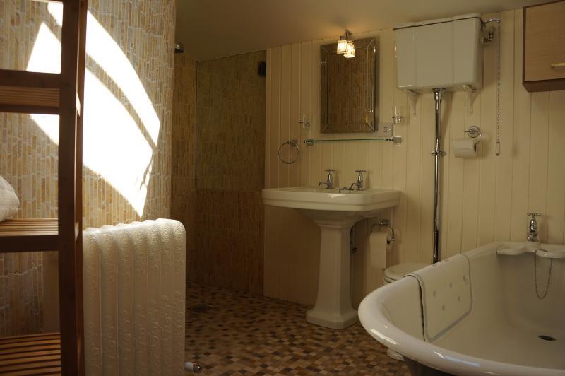 quarto o banheiro e molhado de mosaico com banheira vitoriana de ferro fundido de 'caixão'.