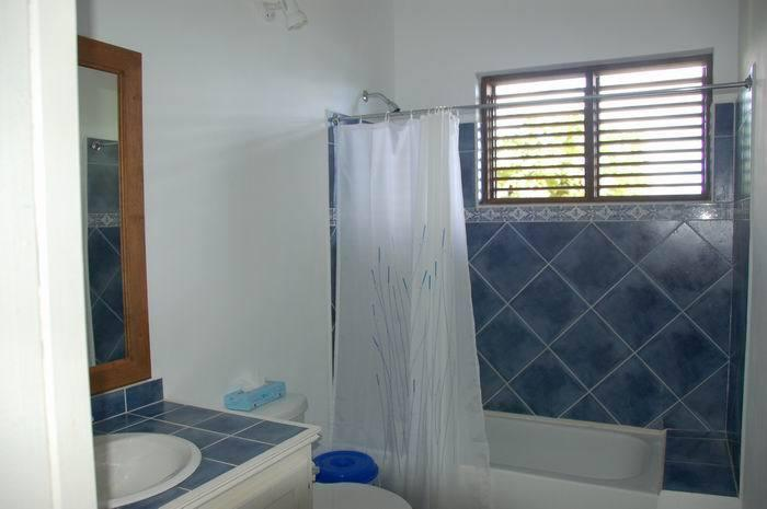 One of the two bathrooms with power showers, shaver plugs and a full bath