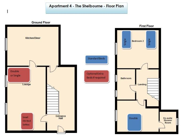 Apartment 4 Floor Plan with Beds