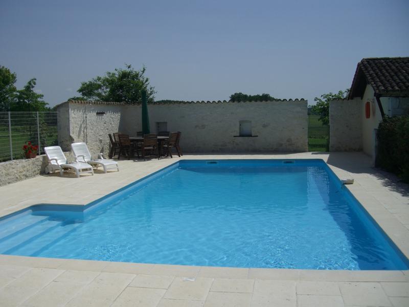 La piscine généreuse avec un accès facile par étapes pour rafraîchir et chaises longues pour les amoureux du soleil.