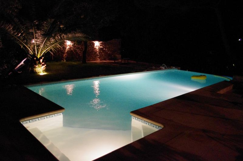 Night view pool