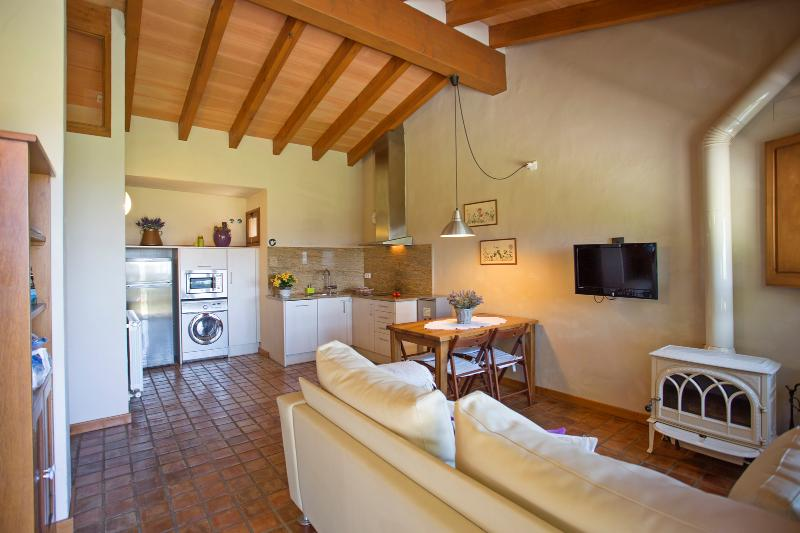 The Casa dels Camps. Dining - living room, equipped kitchen.