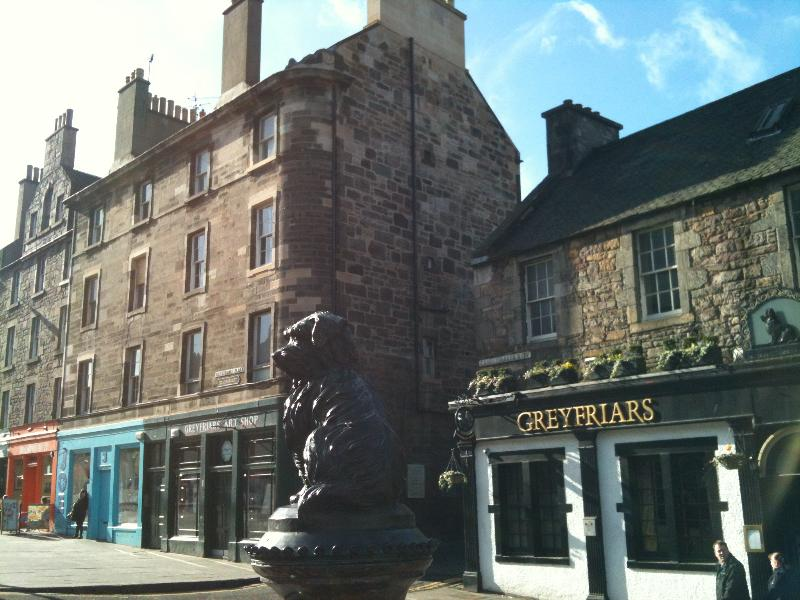 Greyfriars Bobby with the Apartment behind