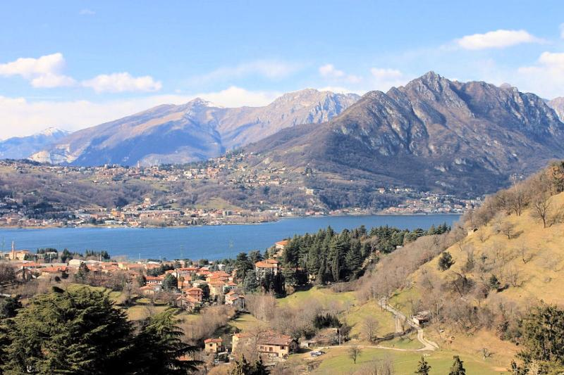Lake Como in Calolziocorte, with its surrounding hills and mountains!