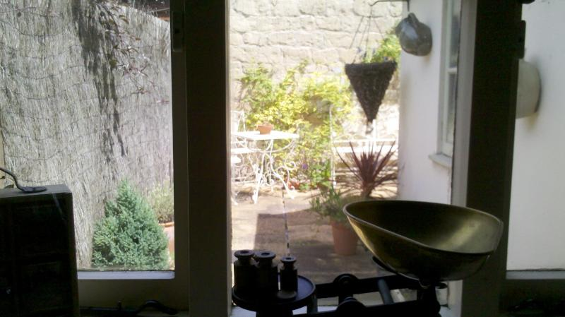 View from kitchen into courtyard