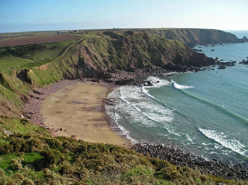 West Dale Beach is 1 km walk away across fields or you can park at the cliff top and walk down.