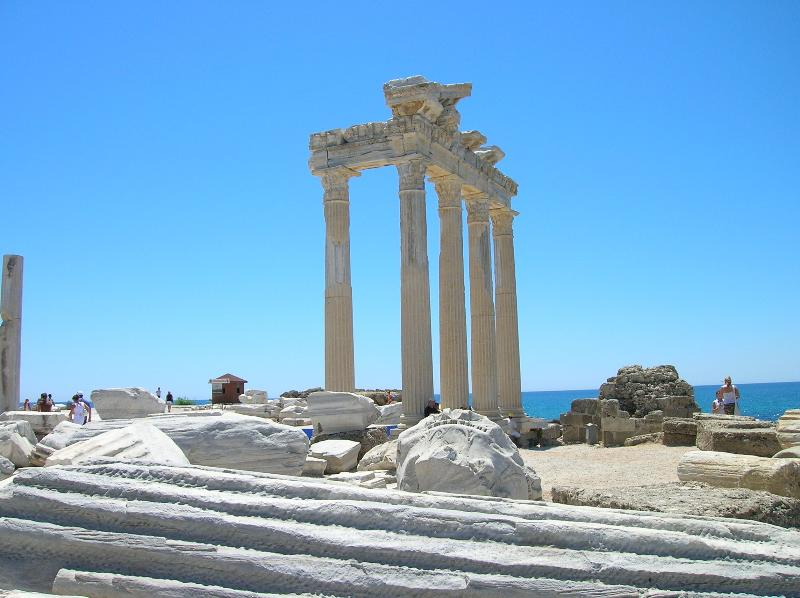 Apollo's temple along the Side harbour front