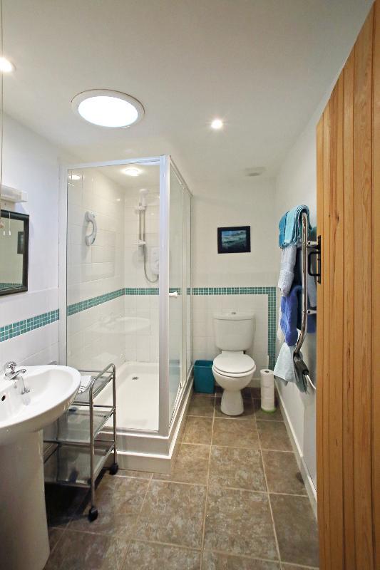 Salle d'eau fonctionnelle avec un sèche-serviettes.