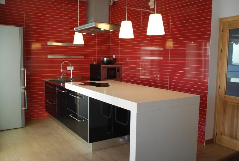 Cocina de diseño nueva totalmente equipada con frigorífico, lavavajillas, horno y todos los utensili