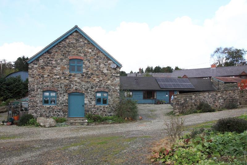 Salle de lavage, Stiperstones Vue sur la gauche, à droite Cottage Cranberry
