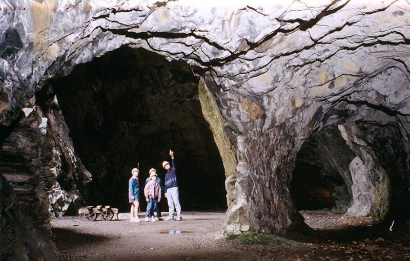 slate caverns at Llanfair