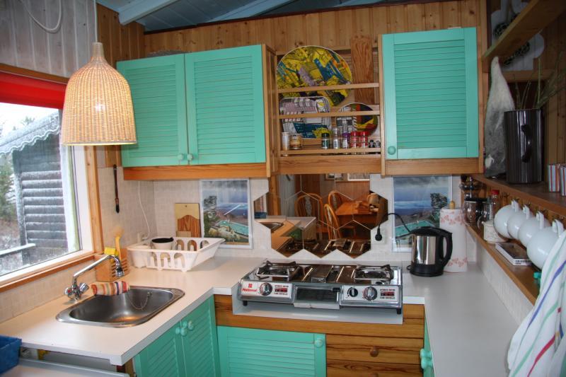 Tout ce dont vous avez besoin... Une cuisinière à gaz, cafétière, réfrigérateur et ustensiles.