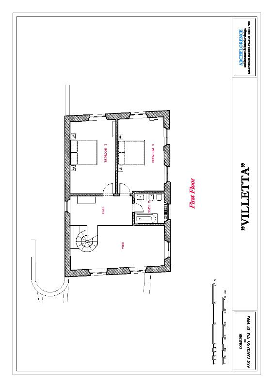 First floor plan with the 2 double bedrooms