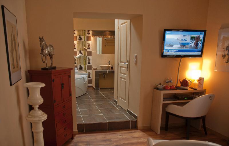 Chambre Zen : espace TV, salle de bains et Douche ouverte