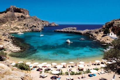 St Paul's Bay in Lindos with back view of Castle