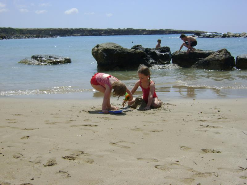 The sandy beach at Corralia is great for relaxing and swimming
