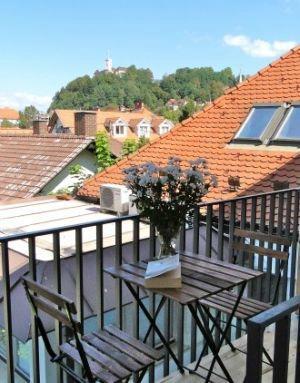 The terrace offers great views of Old Town Ljubljana and gardens