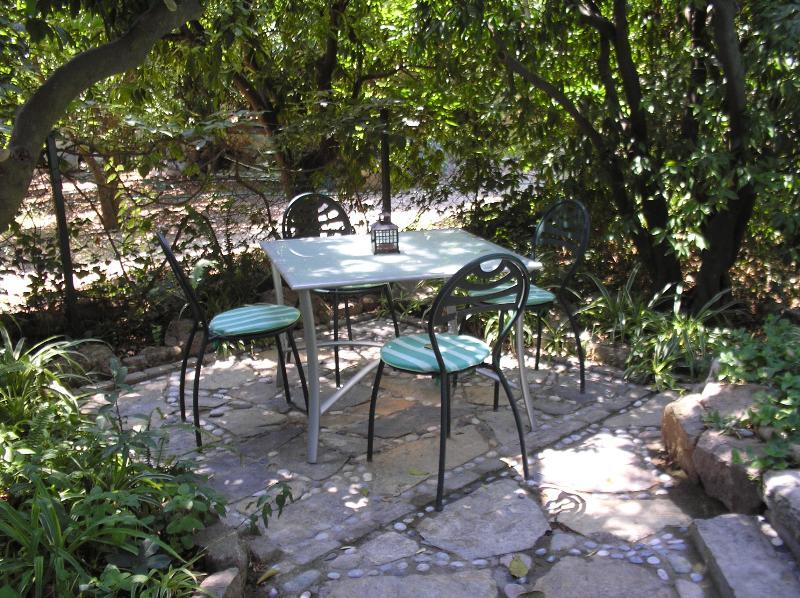 cenare fuori sotto alberi di arancio