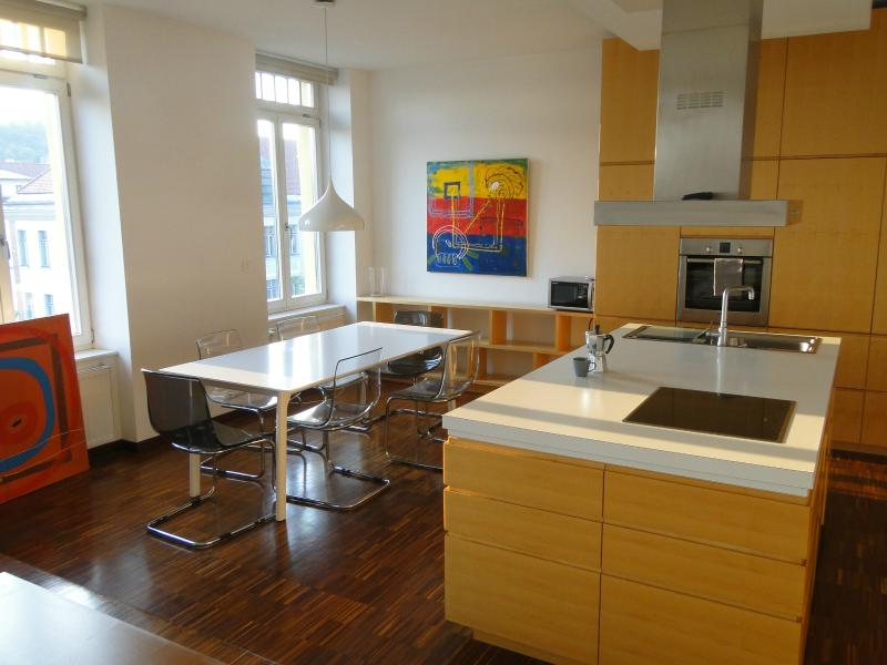 Wide and long dining table is next to the practical, functional, fully-equipped kitchen.