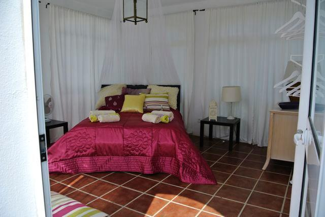 Moroccan theme double bed Tower room, views to the Riff mountains, North Morocco.