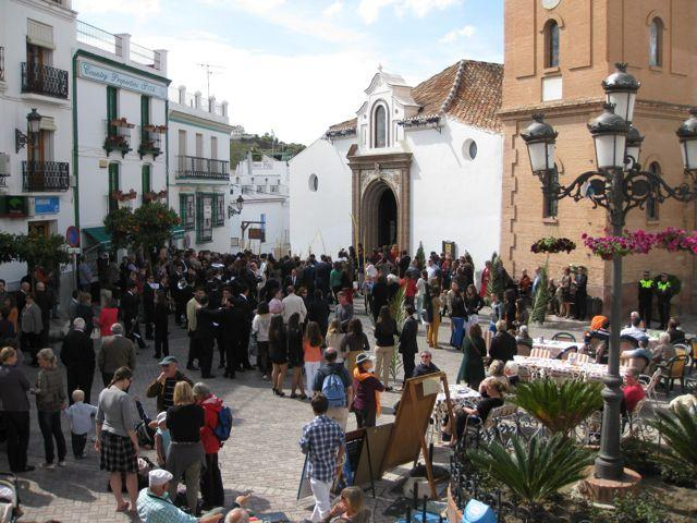 Competa main square at Easter time