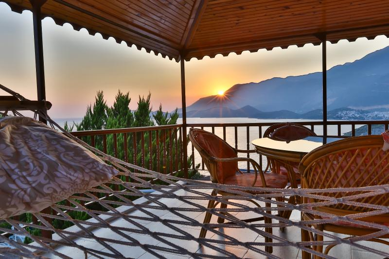 Sunset view from Villa dundar Top Floor. Villa Rental Kas