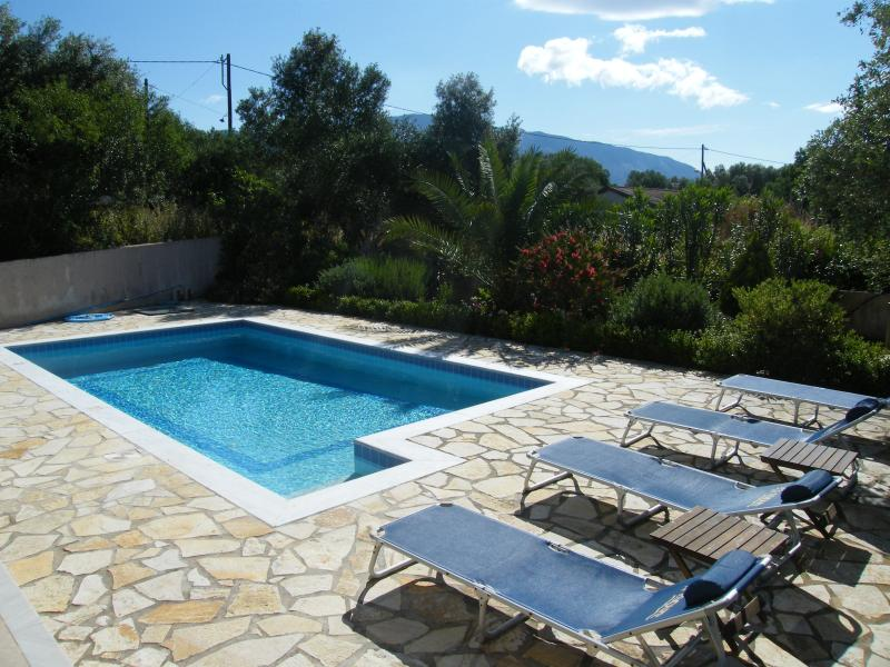 The pool with views of Mount Ainos