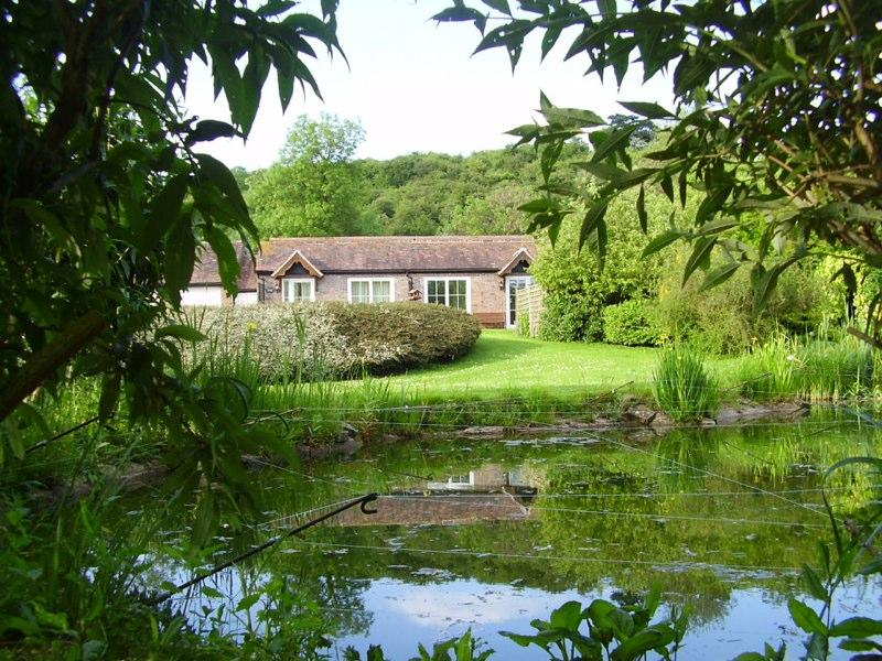 View of the cottage from the pond area