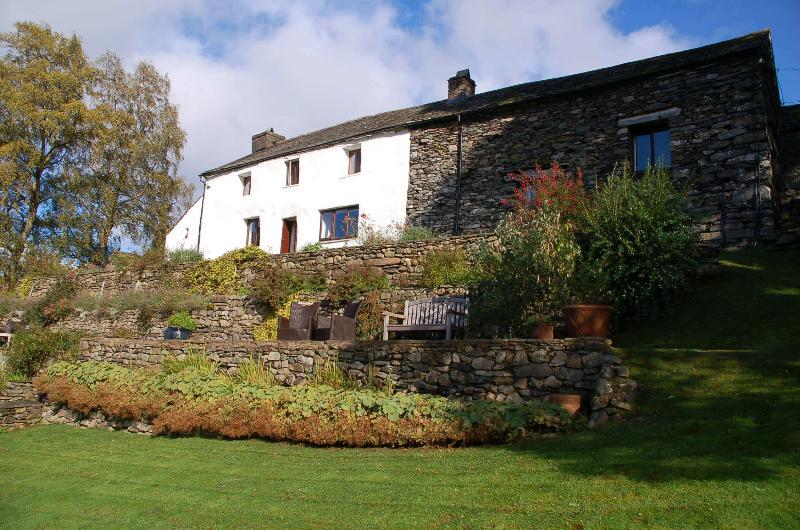 Hallin Bank farmhouse (whitewashed) and The Fold