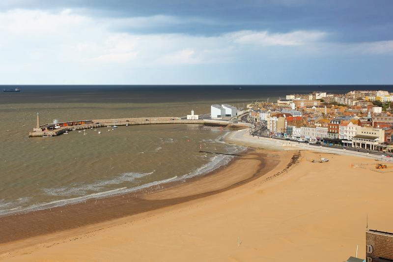 View of Margate Main Sands from Bedroom 2 with the Turner Contemporary Gallery on the harbour arm