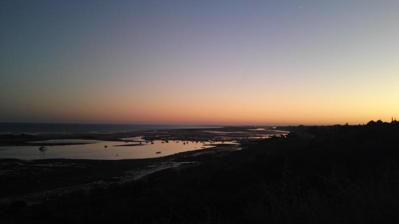Ria Formosa inlet mouth at sunset taken from Cacela Velha Fortress