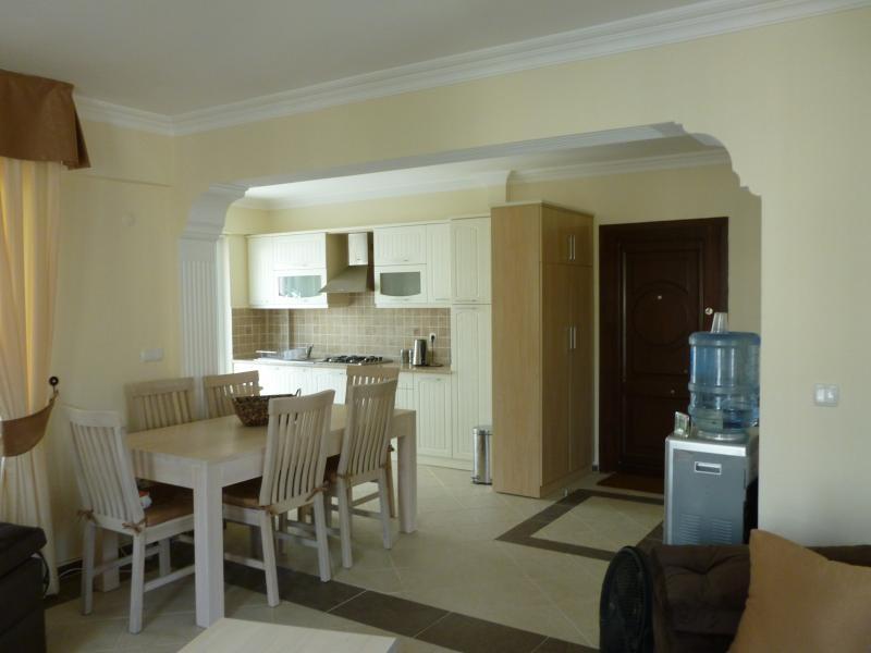 Principale aprire piano salotto, completamente attrezzata cucina, radiatore acqua, tavolo da pranzo e porta d'ingresso.