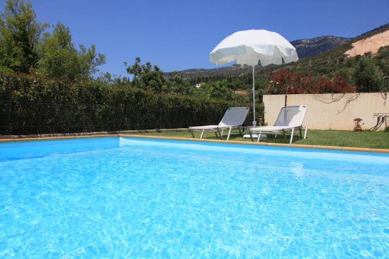 Private swimming pool with garden area