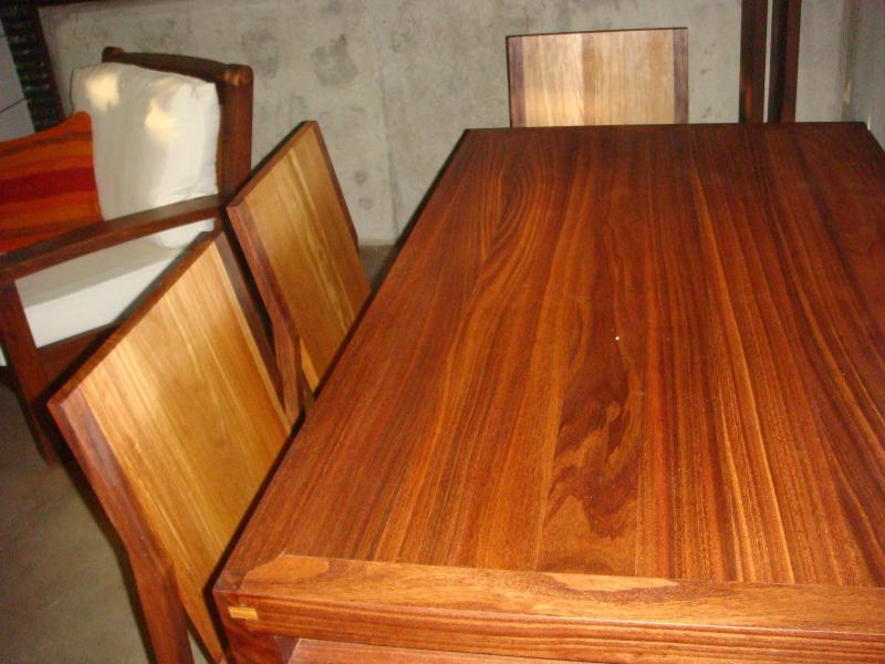 Natural wood dining table for four